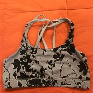 Gap fit sports bra.Floral black and white strappy